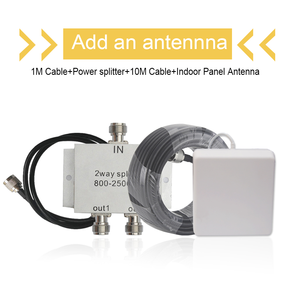 Add An Antenna FOR 900+1800+2100 MObile Signal Repeater CDMA LTE Power Splitter+ 9dBi Panel Antenna +1&10 Meters Coaxial Cable
