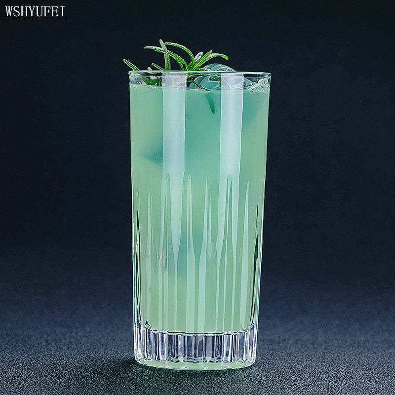 WSHYUFEI Striped carved long drink cocktail glass Colin Haibo juice glass