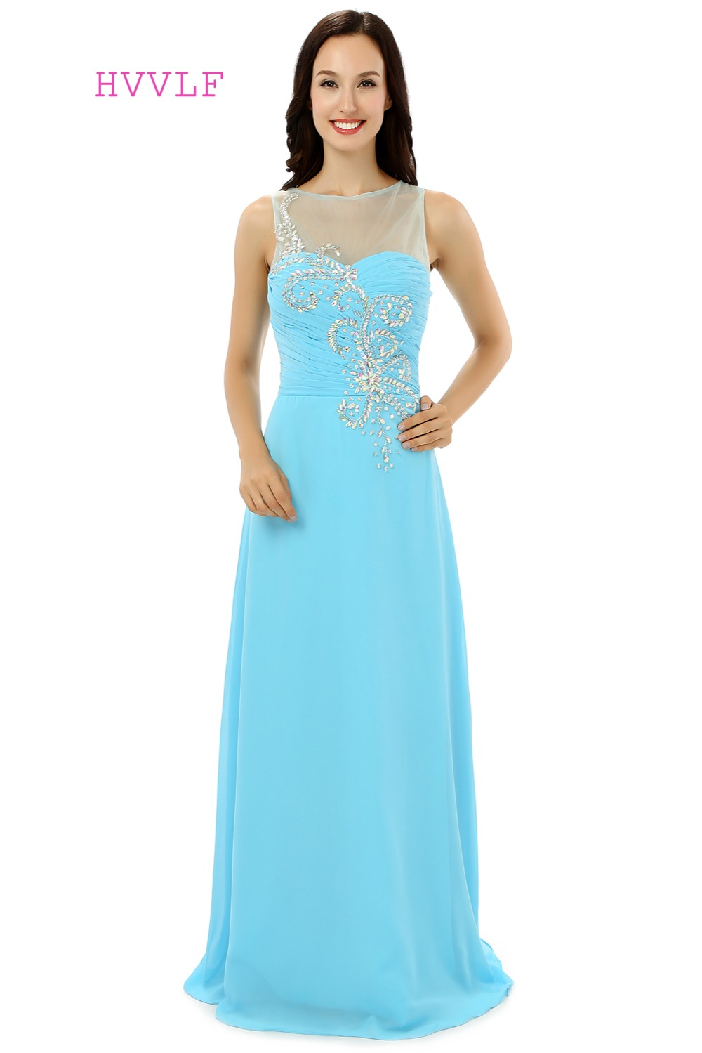 Sky Blue Robe De Soiree 2019 A-line See Through Chiffon Beaded Crystals Sexy Women Long   Prom     Dresses     Prom   Gown Evening   Dress