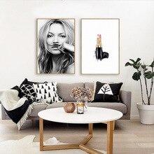 Nordic Minimalistic Abstract Supermodel Lipstick Lips Living Room Decorative Painting Poster Cuadros Decoracion Salon