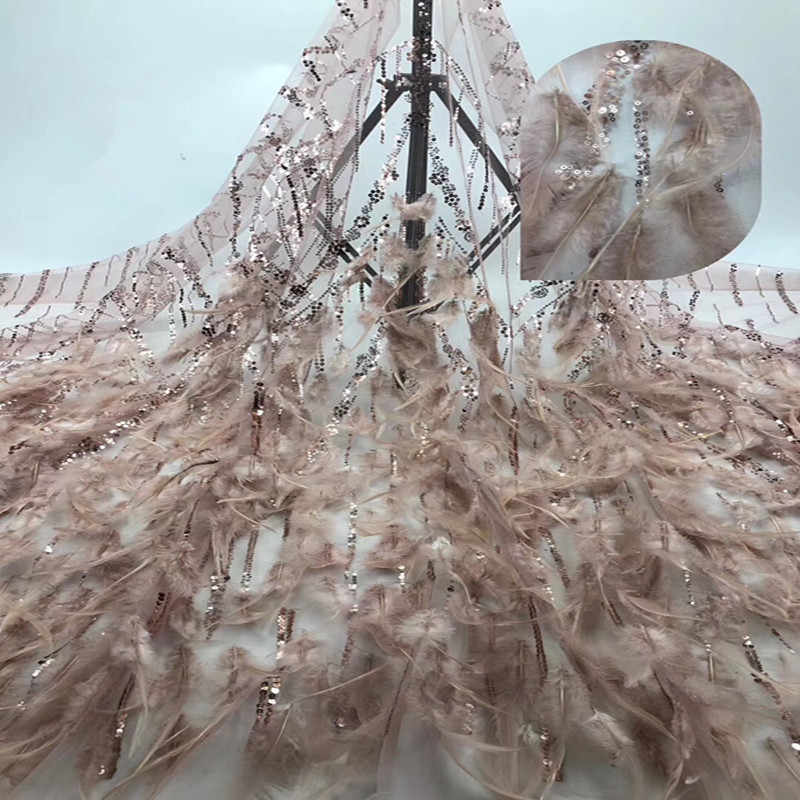 Latest African Laces 2019 with sequins/feathe Lace Fabric High Quality  French Tulle Lace Fabric For African Bridal Lace fb1-466