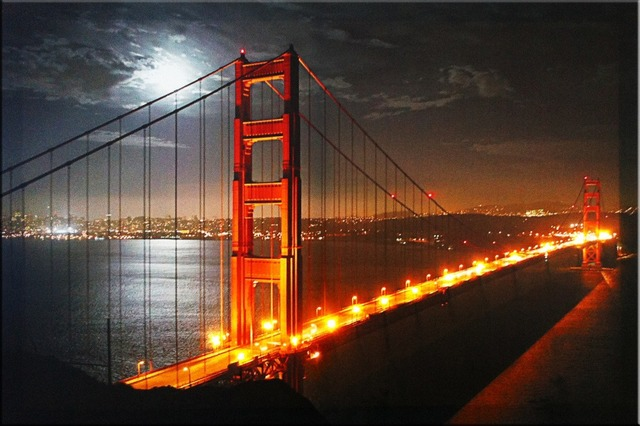 New York Cityscape Golden Gate Bridge Painting Pictures On