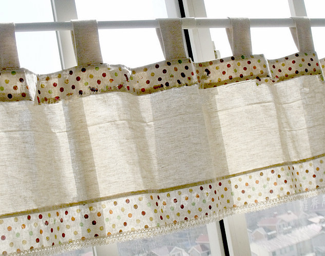1 Panel 40*150cm Korean Style Dot Splice Lace Cotton And Linen Sling Short  Curtain Decorative Kitchen Curtain Coffee Curtain
