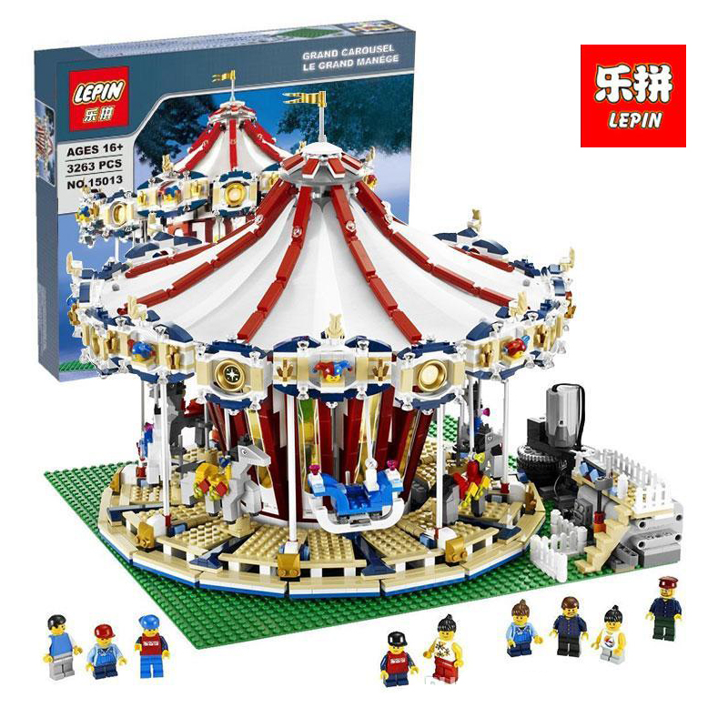 Lepin 15013 3263PcsCity Sreet set Carousel Model Building Kits Blocks Toy Compatible 10196 with Funny Children Educational Gift lepin 15013 city street carousel model building kits assembling blocks toy legoing 10196 educational merry go round gifts