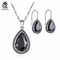 ORSA JEWELS 2017 Fashion White Black Color Earring And Necklace With Water Drop AAA Cubic Zirconia