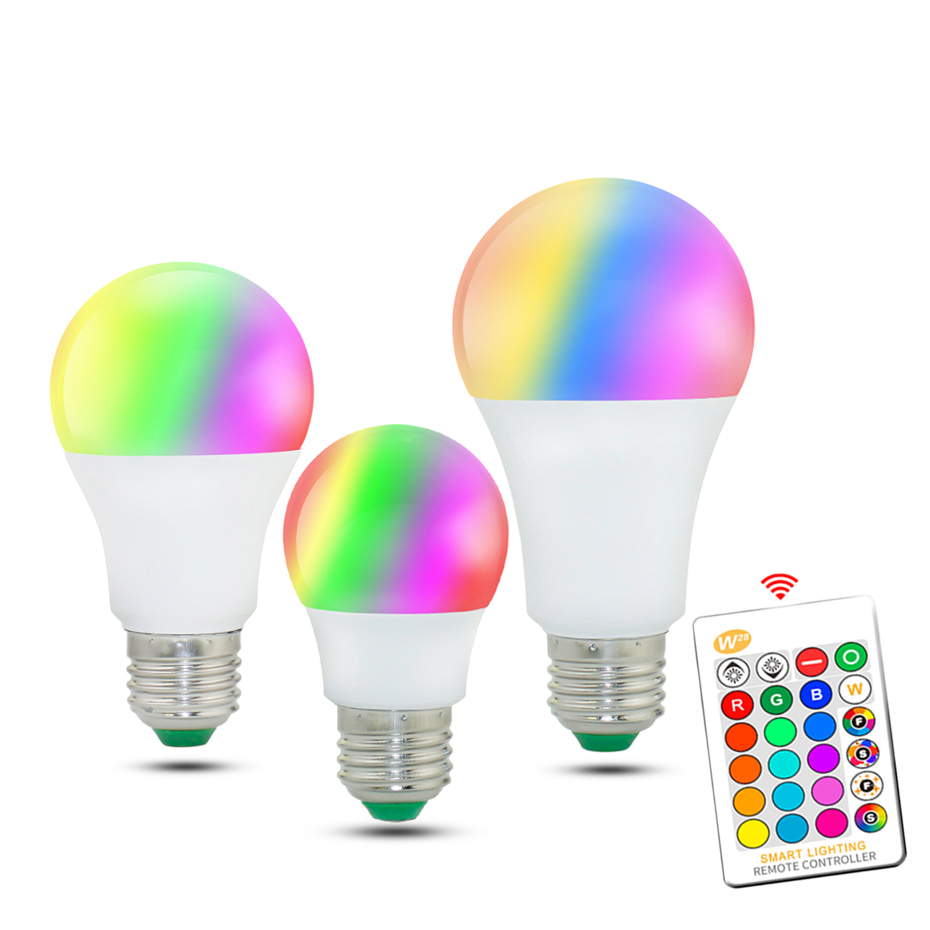 5W 10W 15W E27 LED RGB Bulb Lamp AC85-265V LED Lampada 16 Color Changeable RGB LED Bulb With Memory Function + IR Remote Control