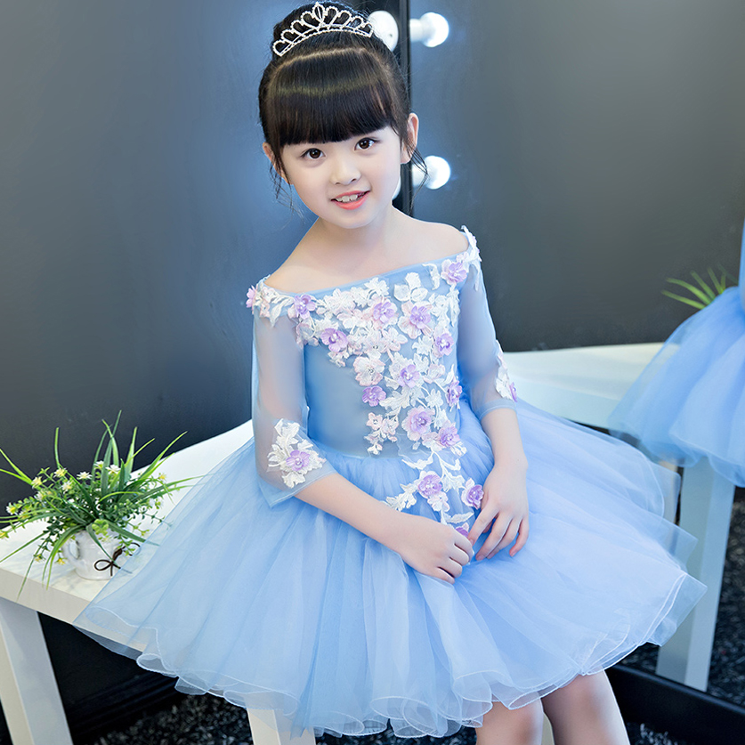 2017 New Korean Sweet Cute Girls Children Embroidery Flowers Princess Dress Kids Birthday Wedding Party Evening Ball Gown Dress korean style different flowers and plant of 50 chinese embroidery handmade art design book