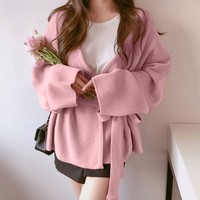 winter clothes women Winter Fashion Ladies Solid Color Bandage pink Long Sleeve Loose Outwear Coat maglioni donna