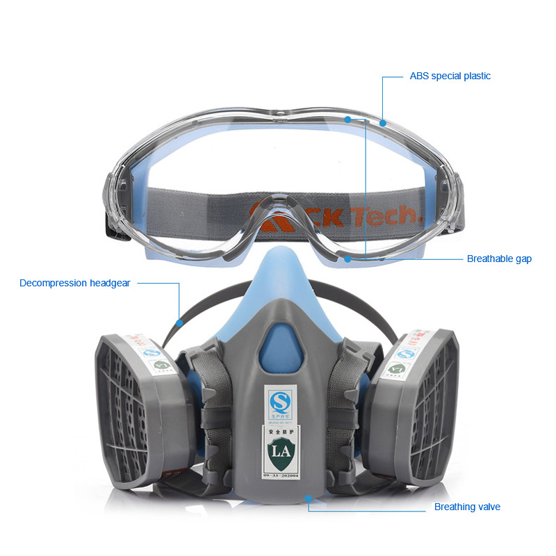 Half Face Gas Mask With Safety Goggles Chemical Dust Mask Filter Breathing Respirator High Quality Protective Mask for Toxic Gas