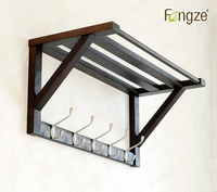 FengZe Home Furnishing Modern Solid Wood Cloth Hanger 5 Metal Hooks Wall Shelf Key Bags Holder