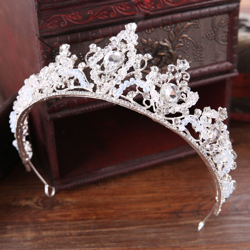 Tiaras Crowns King Headband Jewelry Flower Wedding-Hair-Accessories Bride Women Crystal