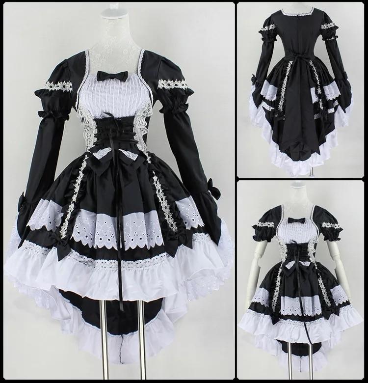 c06e942fbe6 Women Black   Pink Angel Princess Maid Costume Lolita Cincher Tuxedo Tail  Dress Bow-Tie