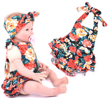 2016 New Fashion Baby Girls Floral Flower Print  Rompers Clothing Set