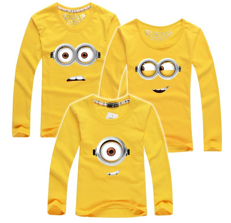 Family clothing shirts minion cotton matching mother for Minion clothespins