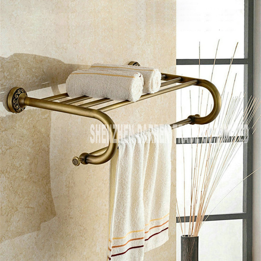 New Fashion European-style Antique Brass Towel Rack Shelf Bathroom Accessories Luxury Bath Towel Pendant Retro Towel Rack Hot