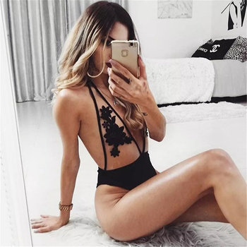 Sexy Transparent Embroidery Floral See Through One Piece Bathing Suit 3