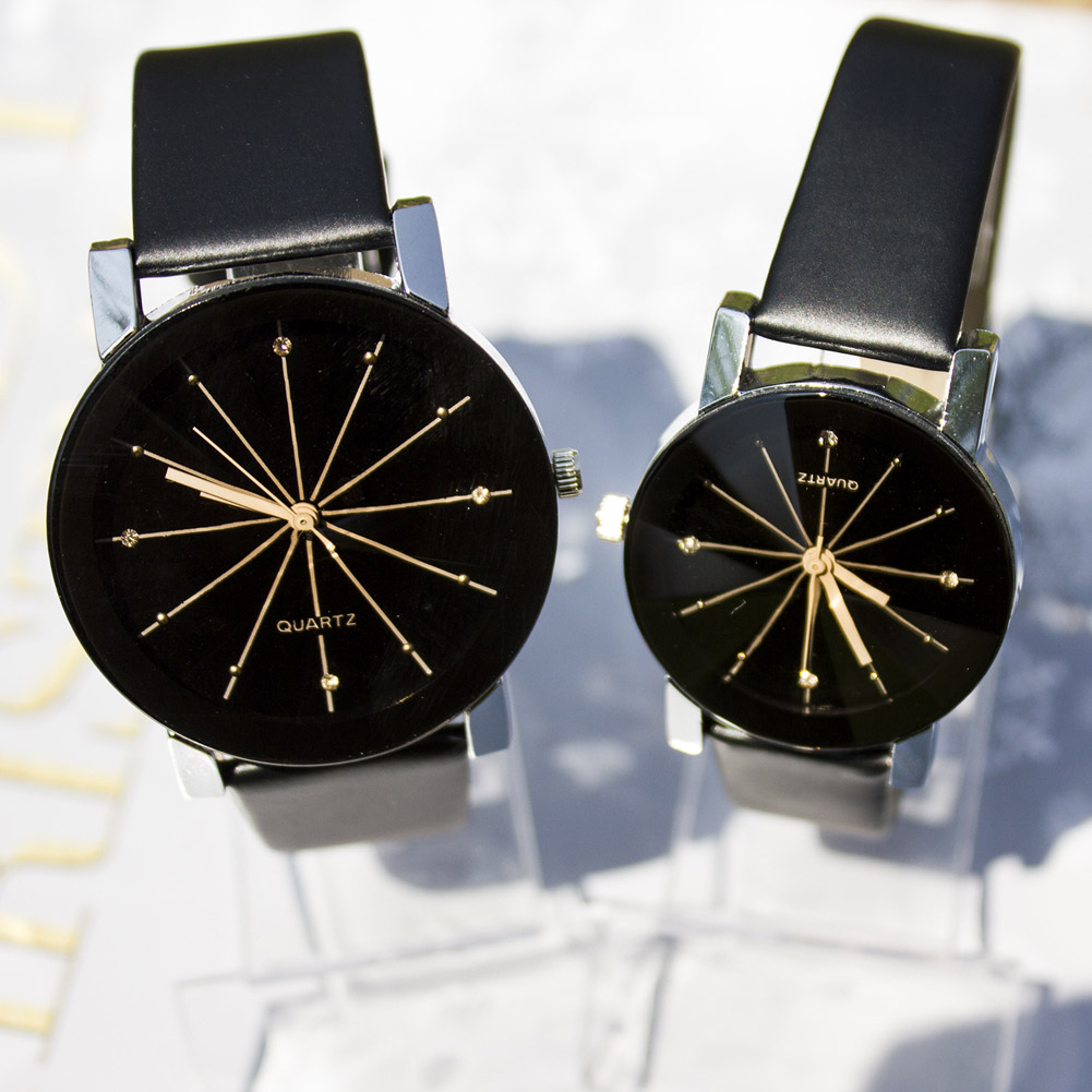 Lover Watches Simple PU Leather Watch Round Diamond Crystal Dial Couples Casual Style WristWatch For Lovers Birthday Gift LL