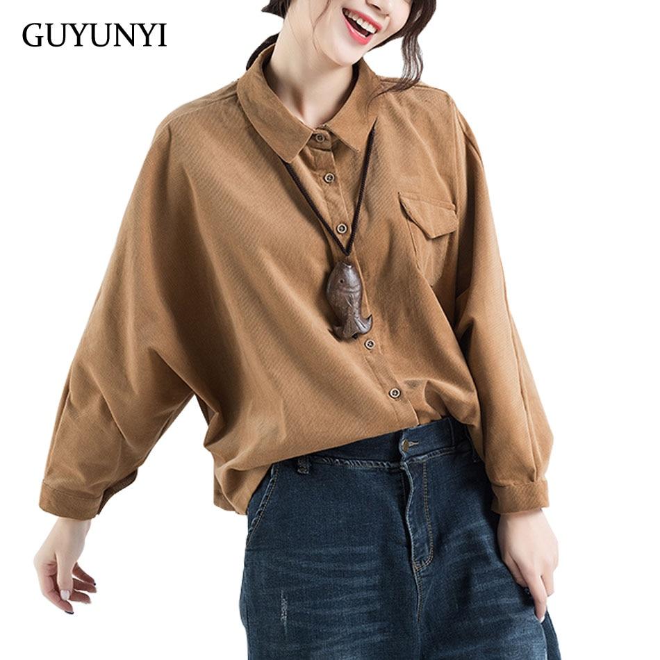 GUYUNYI Autumn Small Striped Corduroy Shirt Bat Sleeve Turn-down Collar Casual Loose Women Shirt Blouse Pure Color Y262