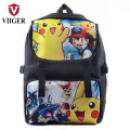 VIIGER Pokemon Pikachu Nylon Backpack Printing Backpacks for Teenage Girls Boys Kids Children Laptop School