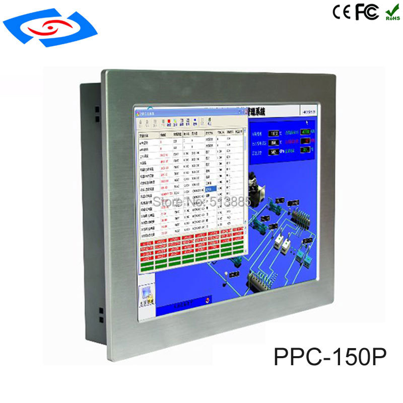 Factory Wholesale 15 Wall Mount Touch Screen PC IP65 Industrial Panel PC With 2x10/100/1000Mbps RJ45 LAN Support Linux System