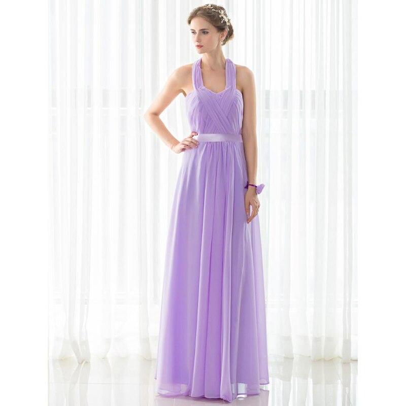 SHAMAI étage longueur licou robes de demoiselle d'honneur robe de mariée en Stock violet clair mousseline de soie à lacets nouvelles robes de demoiselle d'honneur - 5