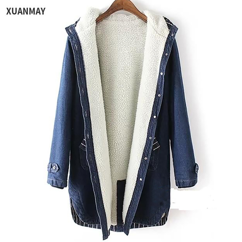 Ms. warm Winter Casual denim Windbreaker jacket long 2017 new ladies fashion Denim jacket Female models thick