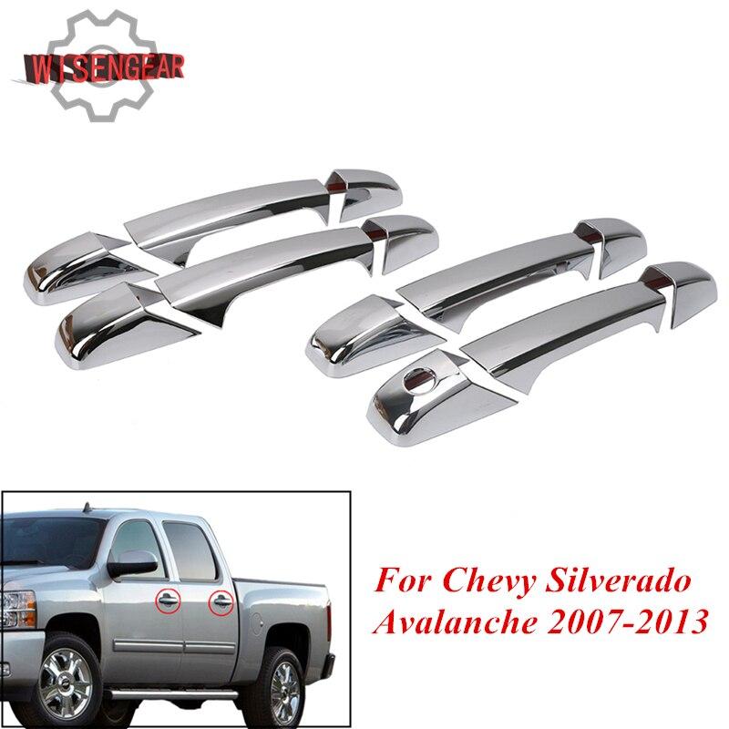 WISENGEAR 4 Porte Chrome Maniglia di Portello Della Copertura Per Chevy Chevrolet Silverado Avalanche GMC Hand Grip Trim Car styling # RC003