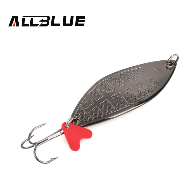 ALLBLUE Fishing Lure Spoon Bait 25g 7cm Artificial Lures Spinner Lure Metal Bait Fishing Tackle Armed With Treble Hook goture 96pcs fishing lure kit minnow popper spinner jig heads offset worms hook swivels metal spoon with fishing tackle box