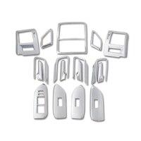 Left Hand Drive 17pcs Chrome Console Interior Accessories Kits Trim For Toyota Land Cruiser Prado J150 2010 2018