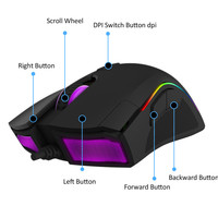 Delux M625PMW3360 RGB Backlight Gaming Mouse 12000 DPI 12000 FPS 7 Buttons Optical USB Wired Mice with Fire Key For game player