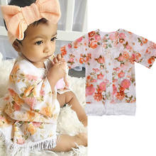 New Baby Kid Girls Floral Printed Coats Spring Cape Beach Outwear Clothes Long Sleeve Coat(China)