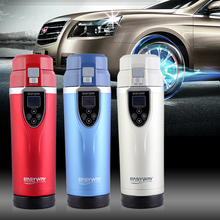 Best gift Car Electric Mug 12V Auto Travel Cup Thermos Bottle Heating Cup Boiling Water Tea Coffee Insulation Free Shipping dmwd auto electric bottle portable car hot water heater cup travel heating kettle teapot stainless steel coffee tea mug 12v 24v
