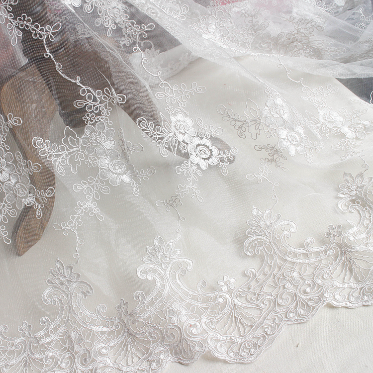 130CM tulle mesh embroidered wedding lace fabric gown lace bone ...
