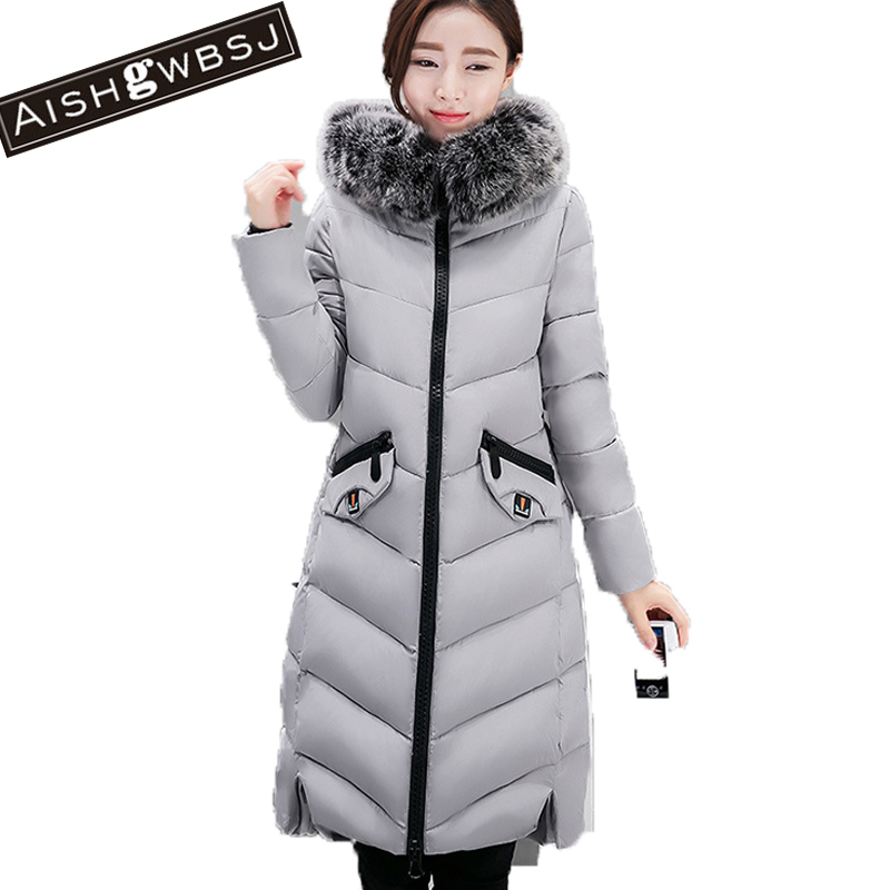 AISHGWBSJ Female Hooded Warm Parkas With Fur Collar 2017 New Plus Size Padded Coats Women's Cotton Long Jackets Winter PL130 women long plus size jackets padded cotton coats winter hooded warm wadded female parkas fur collar outerwear