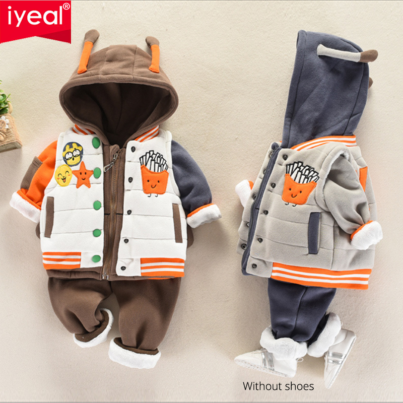 IYEAL Toddler Boys Children Clothing Set Winter Cute Hooded Coats + Vest +Long Pants 3 Pieces Outfits Set for Boys Clothes 1-4Y цена