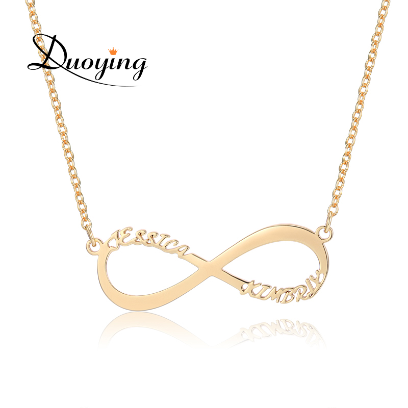 e63e6a425e97e US $10.99  3UMeter Infinity Necklace For eBay Custom Name Necklace Gold Two  Name Personalized Gift Mother Daughter Minimalist Necklace-in Chain ...