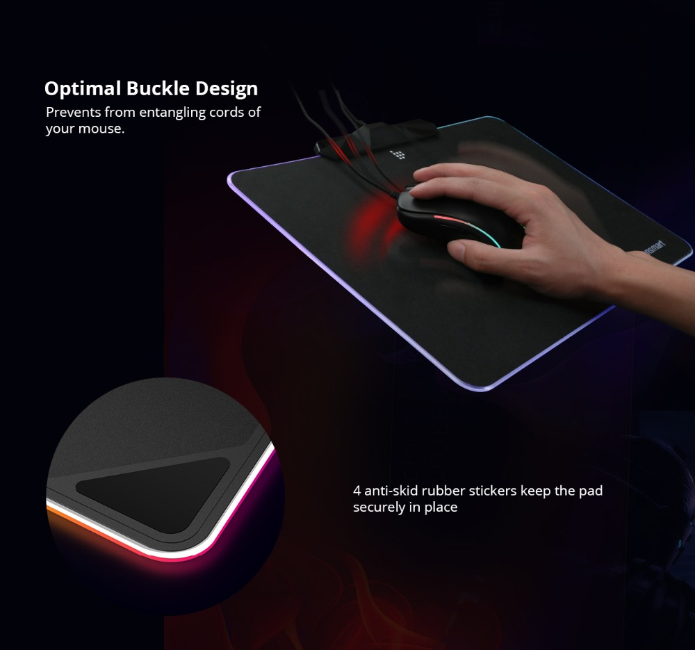 Tronsmart Shine X RGB Gaming Mouse Pad Compupter Mouse Pad Gamer USB Mat with 8MB flash memory,16.8 Million Colors,Touch Sensor 7