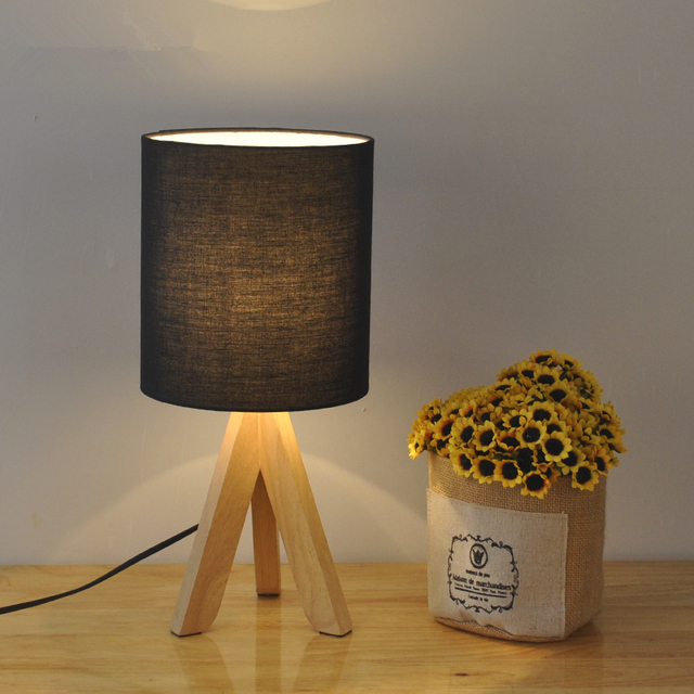 Black Blue Green Nordic Led Table Lamp Wood Cloth Rustic Living Room