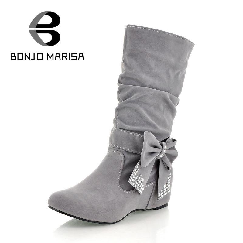 ФОТО BONJOMARISA Big Size Half Knee Snow Boots Women Rhinestone Bowtie Sexy Winter Shoes Hidden Wedge Heel Winter Shoes Boots HB144