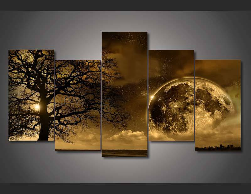 5-panel stort HD-trykt maleri Celestial Landscape lerretskunst Picture home decor wall art picture for stue no frame