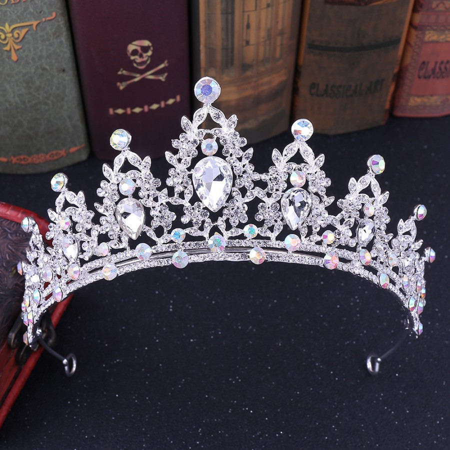 Variation #8 of baroque luxury handmade rhinestone bridal crown tiaras silver crystal diadem tiaras for bride headbands wedding hair accessories