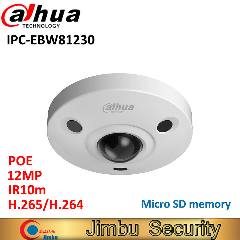<font><b>Dahua</b></font> <font><b>12MP</b></font> <font><b>IP</b></font> <font><b>Camera</b></font> Panoramic Fisheye IPC-EBW81230 H.265 support POE IR10m waterproof IP67 mini <font><b>camera</b></font> Micro SD memory IK10 image