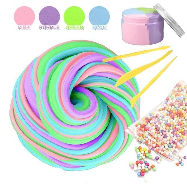 fluffy slime unicorn fluffy slime package foam beads slime kit for