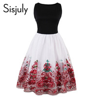 Sisjuly Vintage Summer Women 1950s Dress Red Print Floral Party Dress Women Sleeveless Elegant Office Pretty