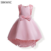 2017 New Big Bow Lace Girl Dresses Party Pageant Communion Dress Little Girls Kids Children Dress