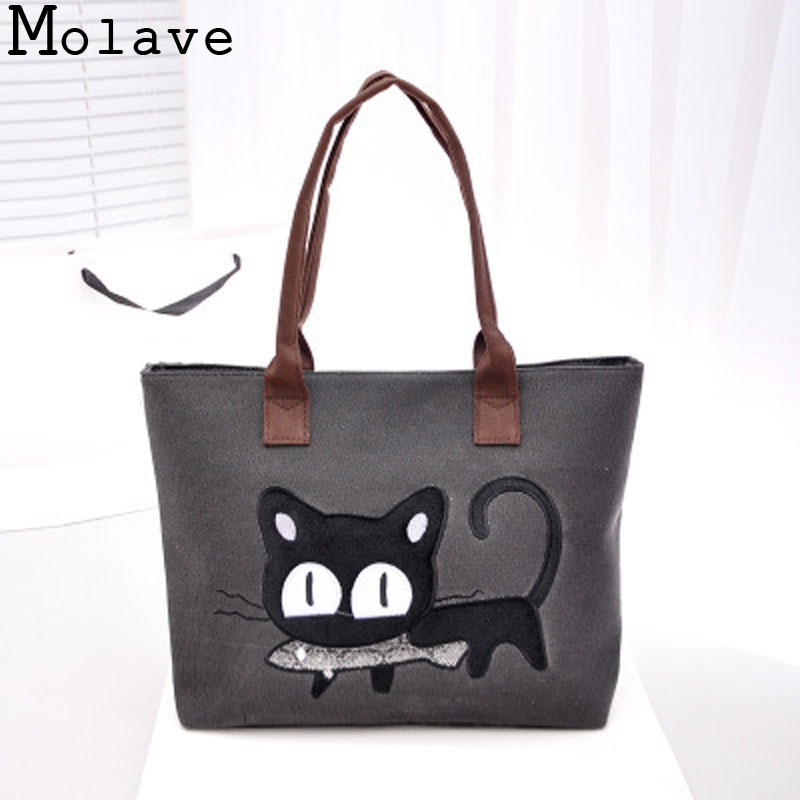 Hot Sale!Girls High Quality Fashion Lady Canvas Cute Cat Handbag Women Purse Shoulder Bag Tote Female Lovely Purse HandBag Nov25 hot sale women fashion colorful light feather handbag high quality shoulder bag space down cotton padded tote bs162