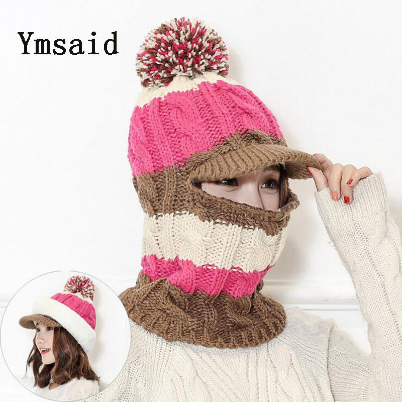 Ymsaid Fashion Woman Autumn Winter Hat and Scarf Sets Female Knitting Thickening Cap Collar Sets Students Warm Hat Girl Knitted skullies hot sale candy sets color pointed hat knitting hat sets hat cap 1866951
