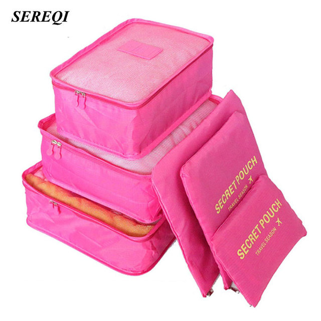 SEREQI 6PCS/1Set Travel Waterproof Storage Bag Clothes Underwear Bra Packing Cube Luggage Organizer Closet Divider Container