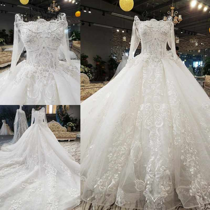 01e668c88bb ... LS00371-1 luxury sexy lace up 3D flowers long tail three quarter white  wedding dress