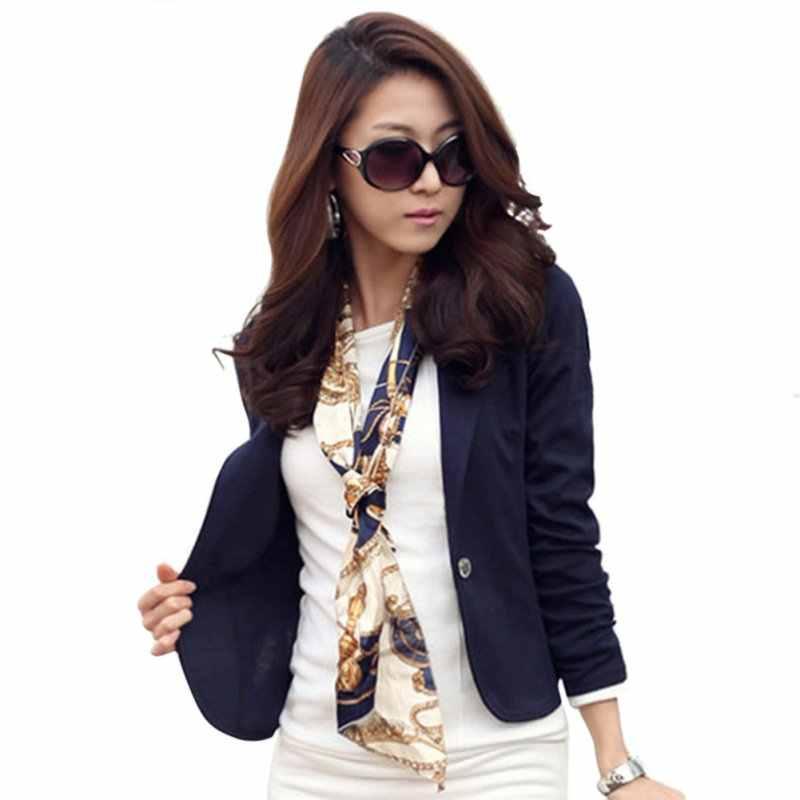 ae5508fbc42 Women Jacket Spring Women Blazer Coat Fashion Casual Jacket Long Sleeve One  Button Suit Ladies OL